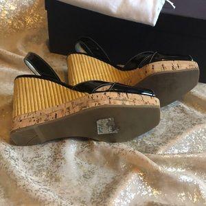 Prada Shoes - LIKE NEW PRADA BLACK PATENT LEATHER BAMBOO WEDGE!